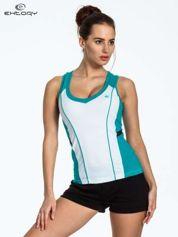 Biało-turkusowy damski top sportowy z nadrukiem na plecach