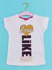 Biały t-shirt dla dziewczynki z napisem LOVE LIKE CRAZY