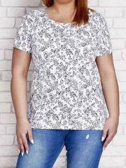 Biały t-shirt z kontrastowym nadrukiem PLUS SIZE