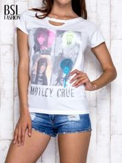 Biały t-shirt z nadrukiem Mötley Crüe