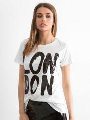 Biały t-shirt z napisem LONDON