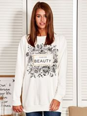 Bluza damska z motywem kwiatów i napisem ecru