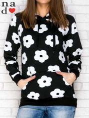 Bluza z kapturem motyw kwiatowy czarna