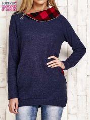 Bluza z zasuwanym kapturem granatowoczerwona