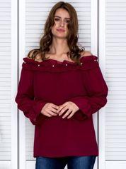 Bluzka damska z ozdobnym dekoltem bordowa