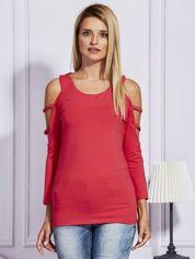 Bluzka damska z rękawami cut out jasnoczerwona