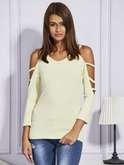 Bluzka damska z rękawami cut out żółta