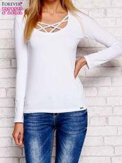 Bluzka lace up z długim rękawem biała