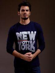 Bluzka męska z napisem NEW YORK CITY granatowa