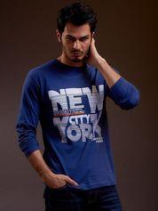 Bluzka męska z napisem NEW YORK CITY niebieska
