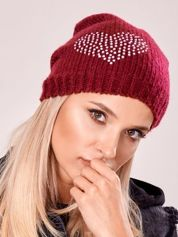 Bordowa czapka z błyszczącymi serduszkami