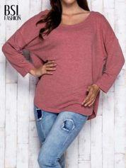 Bordowa melanżowa bluzka z dekoltem na plecach