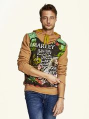 Brązowa bluza męska z kapturem z nadrukiem reggae