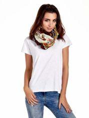 Brązowa chusta we wzór patchworkowy