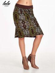 Brązowa spódnica z nadrukiem ornamentowym