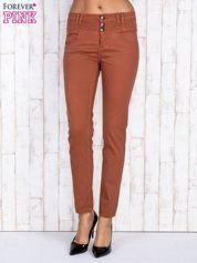 Brązowe jeansowe spodnie skinny z wysokim stanem