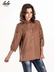 Ciemnobeżowa koszula z szerszymi rękawami