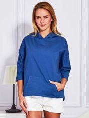 Ciemnoniebieska bluza z kapturem i kieszenią