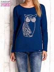 Ciemnoniebieska bluzka z aplikacją w kształcie sowy