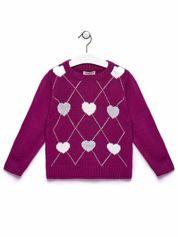Ciemnoróżowy sweter dla dziewczynki z motywem serduszek