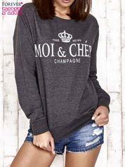 Ciemnoszara bluza z napisem MOI & CHÉRI
