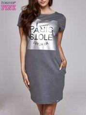 Ciemnoszara sukienka dresowa ze srebrnym printem PARIS