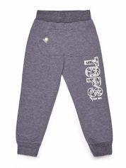 Ciemnoszare chłopięce spodnie dresowe z napisem moro
