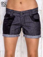Ciemnoszare szorty jeansowe z materiałowymi wstawkami