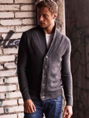 Ciemnoszary sweter męski zapinany na guziki FUNK N SOUL