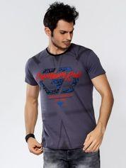 Ciemnoszary t-shirt męski z graficznym printem