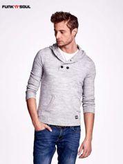 Ciemnoszary wełniany sweter męski z kieszenią z przodu FUNK N SOUL
