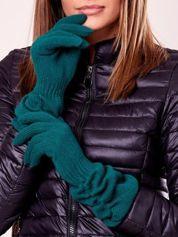 Ciemnozielone długie rękawiczki z marszczonym ściągaczem