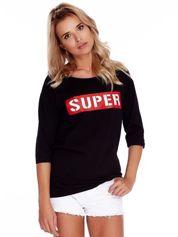 Czarna bluzka oversize z napisem SUPER