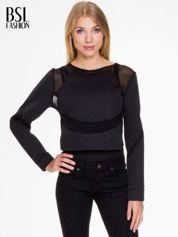 Czarna bluzka z neoprenu z tiulowymi wstawkami