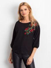 Czarna bluzka z roślinnym haftem