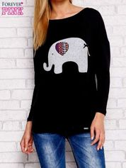 Czarna bluzka ze słoniem