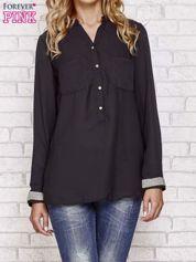 Czarna koszula z mankietem z cyrkonii