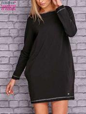 Czarna sukienka oversize z kieszeniami