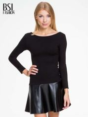 Czarna sukienka z rozkloszowanym dołem ze skóry