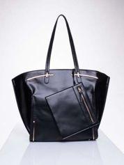 Czarna torba z doczepianą saszetką