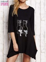 Czarna tunika dresowa z aplikacją kotów z cekinów