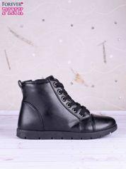 Czarne gładkie sneakersy ze skóry zapinane na suwak