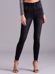 Czarne jeansy high waist
