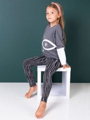 Czarne legginsy dla dziewczynki we wzór pasków