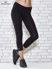 For Fitness Czarne legginsy sportowe z patką z dżetów na dole