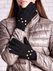 Czarne rękawiczki  z ćwiekami i ściągaczem