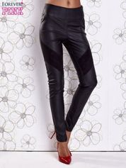 Czarne skórzane spodnie z zamszowymi wstawkami