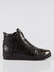Czarne sneakersy Vanessa tłoczone na wzór skóry krokodyla