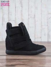 Czarne zamszowe sneakersy bandage