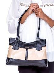 Czarno-beżowa trapezowa torebka damska na ramię